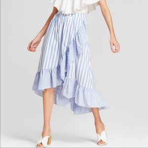Stripe asymmetrical ruffle midi skirt NWT